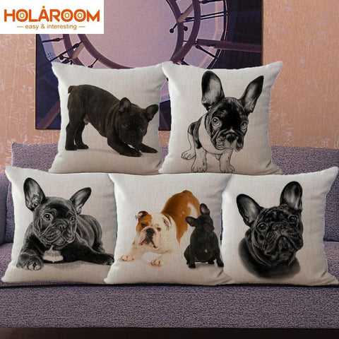 French Bulldog dog cushion cover European style decorative pillow case cotton linen