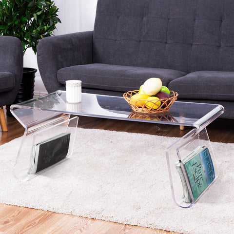 Clear Acrylic Modern Cocktail  Coffee Table with Integrated Magazine Rack