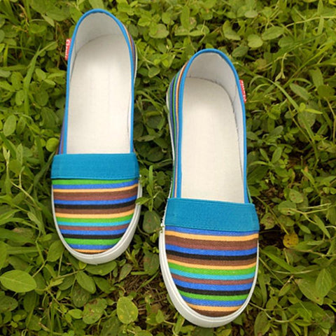 Stylish  Soft  Rainbow-Stripe Slip On Canvas Flat Loafer Casual Shoes For Women