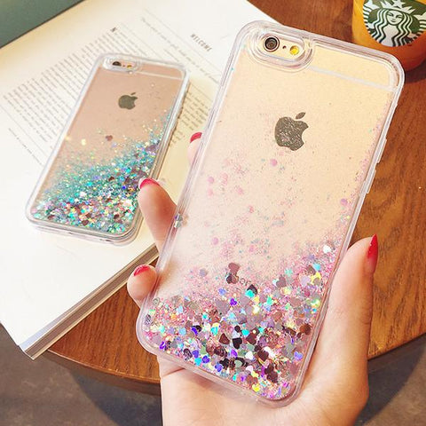 Hot Love Heart Glitter Stars Dynamic Liquid Quicksand Soft iPhone Back Cover Case