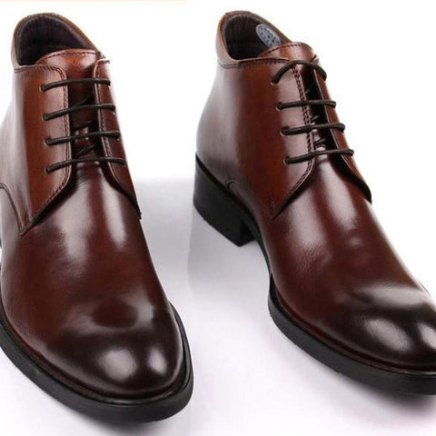 Luxury Handmade Genuine Leather Brand Men Ankle High Lace Up Boots Dress Shoes