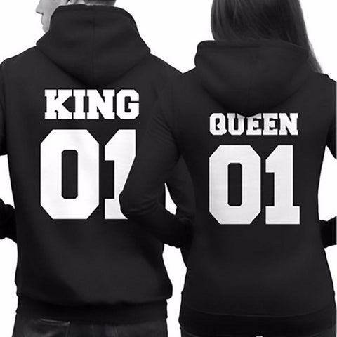 Fashion Women Queen & Men King Hoodies