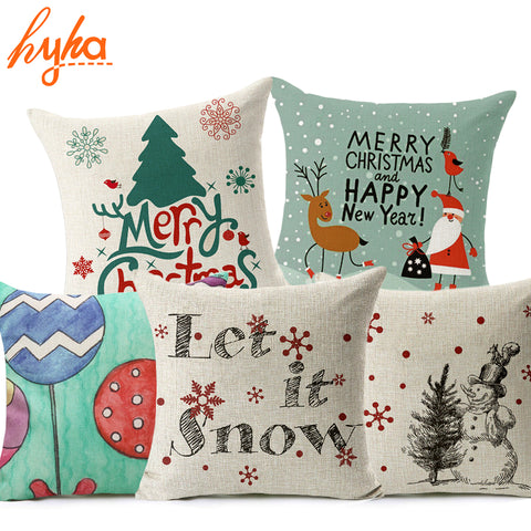 Let It Snow Xmas Style Santa Claus Merry Christmas Decorative Pillow Cases