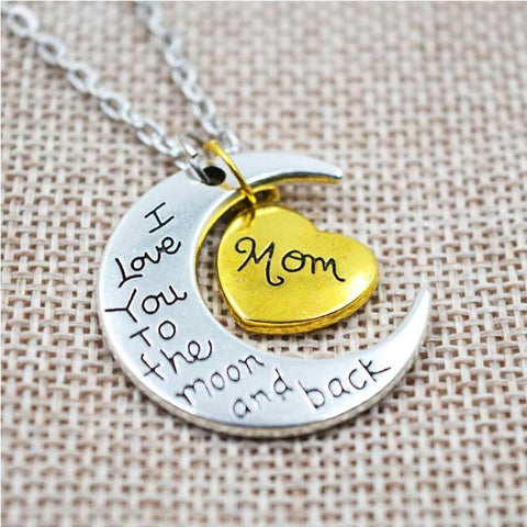 Vintage I Love You To The Moon And Back Silver  Family Pendant Necklace