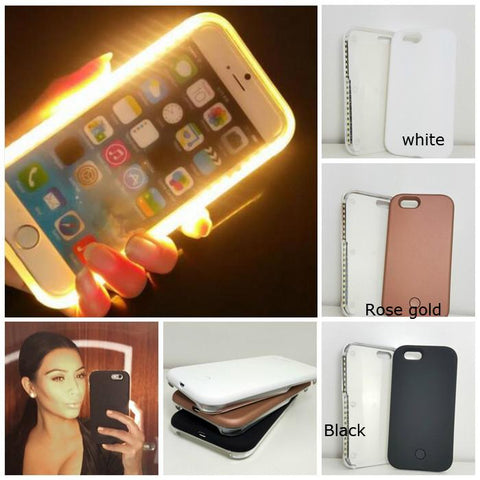 LED Luminous Phone Case for samsung & iPhone plus Charging Cable Selfie Light Case