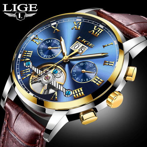 LIGE Top Brand Luxury Clock Automatic Mechanical  Men Casual Business Waterproof Wrist watch