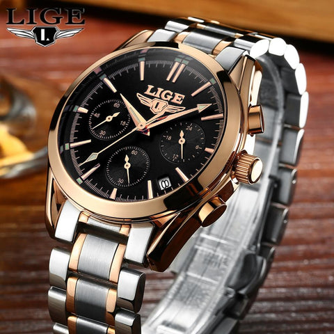 Top Brand Luxury Full Stainless Steel Sport Quartz Men Casual Business Waterproof Watch