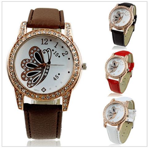 Women Butterfly Pattern Rhinestone Wrist Watch