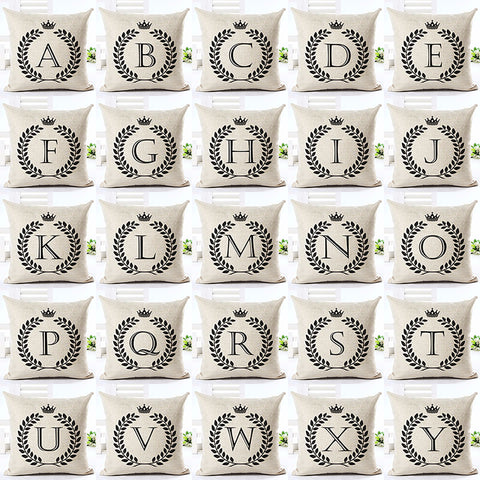 Alphabet Letter Printed Cotton Linen Pillowcase Decorative Cushion covers