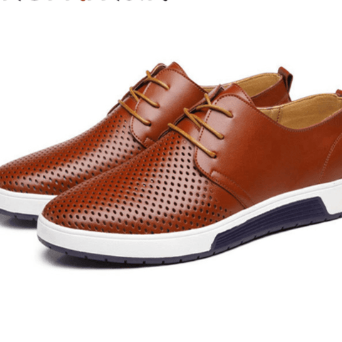 Genuine Leather Holes Design Breathable Business Men's Dress Casual Shoes