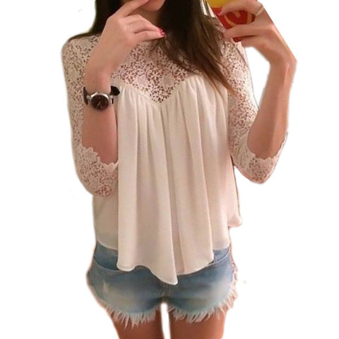 Women Crochet Lace Floral Long Sleeve Blouse