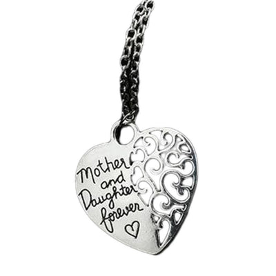 New Mother And Daughter Forever Hollow Heart Love Pendant Necklace