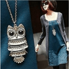 New Lady Women Vintage Silver Owl Pendant Necklace