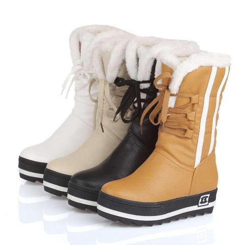 New WaterProof Warm Winter Snow Full Fur Women Boots