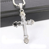 Men's Stainless Steel Cross Chain Pendant Necklace -Silver/Gold/Black/Blue