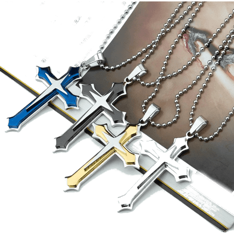 Men's 3 Layer Cross Stainless Steel Cross Pendant Chain Necklace