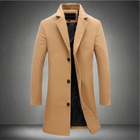 Nick's™ New Fashion Button Solid Color Long Sleeved Windbreaker Winter Long Men Wool Coat