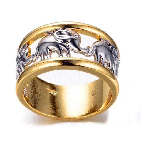 Premium White Elephant Yellow Gold Ring