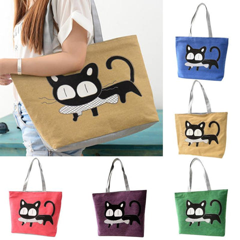 Special Cute Cartoon Cat Fish Designer Women Canvas Handbag