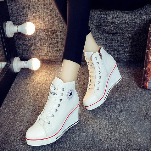 High Top Canvas Hidden Heel Wedge Boots Snickers Casual Women Shoes