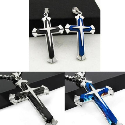 Stainless Steel Cross Pendant Men's  Necklace -Blue/Black