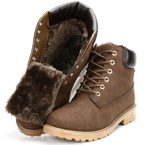 Genuine Warm Suede Leather  Lace-up Fur Men Boots