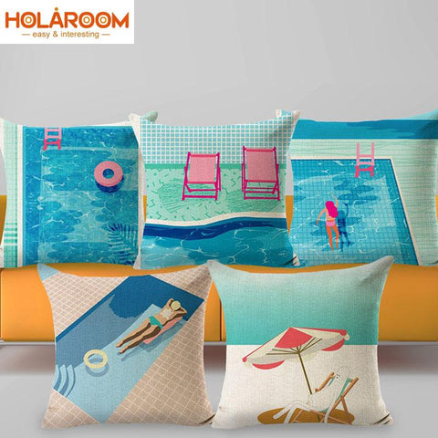 Swimming Pool Beach Decorative Pillow case Cushion Cover