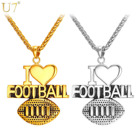 """I Love Football"" Stainless Steel American Football Heart Necklace"