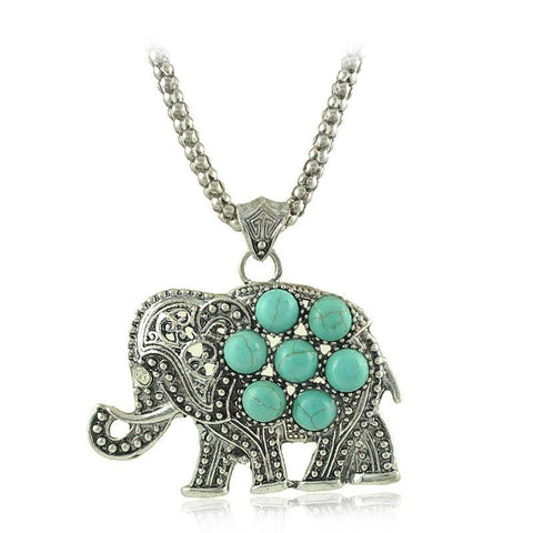 Unique Vintage Elephant Turquoise Pendant Necklace For Women