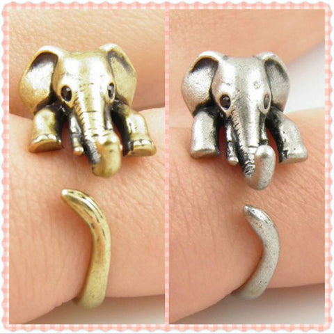 Lovely, Vintage, Adjustable Elephant Wrap Ring