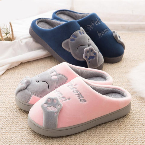 Super Warm Women In-Door Winter Cute Cartoon Cat Non-slip Soft Cushion Slippers