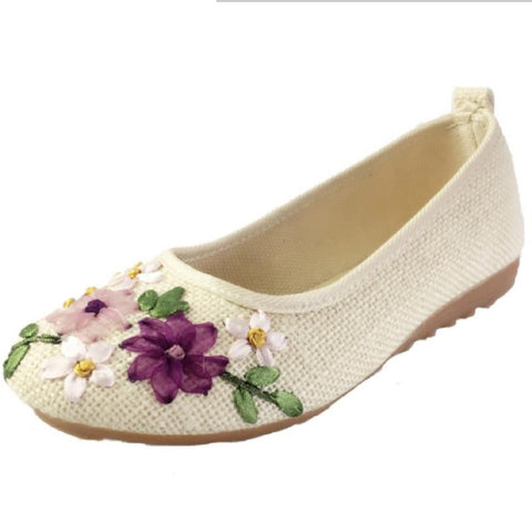 Vintage Embroidered Women Flats Ballerina Flat Shoes
