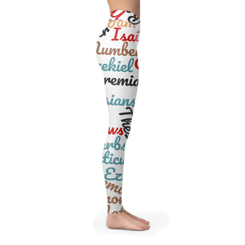 Unique White Multi-Color Bible Books Leggings