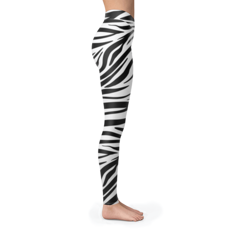Black n White Zebra Skin Pattern Leggings