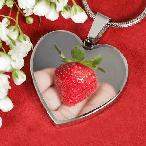Adjustable Necklace With I Love My Strawberry Shatterproof Glass Heart-Shaped Pendant