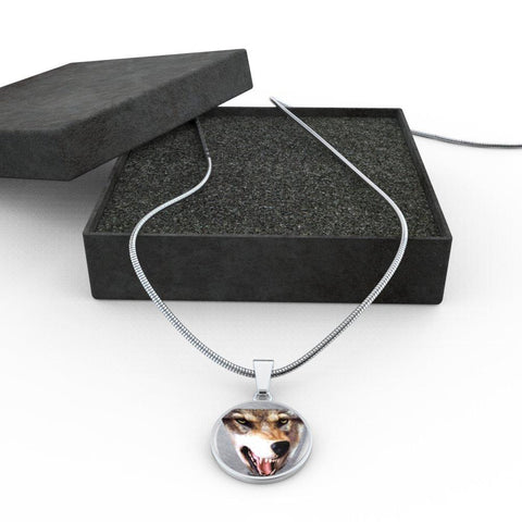 3D Wolf Head Luxury Stainless Steel  Pendant Necklace w/ adjustable snake-chain