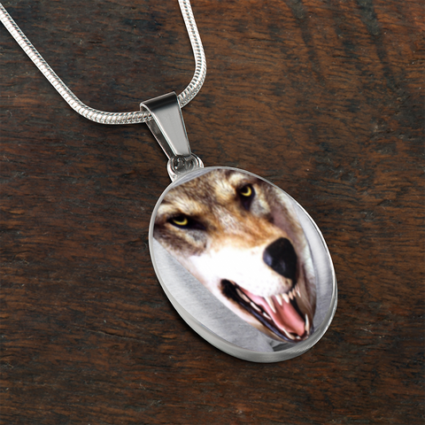 Luxury 3D Wolf/Dog Head Surgical Steel and Shatterproof Glass Charm Necklace With Adjustable Snake-chain