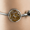 Incredible Brown Bible Books Stainless Steel and Shatterproof Glass Charm Bracelet