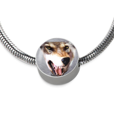 3D Wolf Head Stainless Steel and Shatterproof Glass Incredible Charm Bracelet