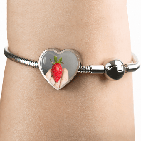Incredible I Love My Strawberry Stainless Steel & Shatterproof Glass Charm Bracelet