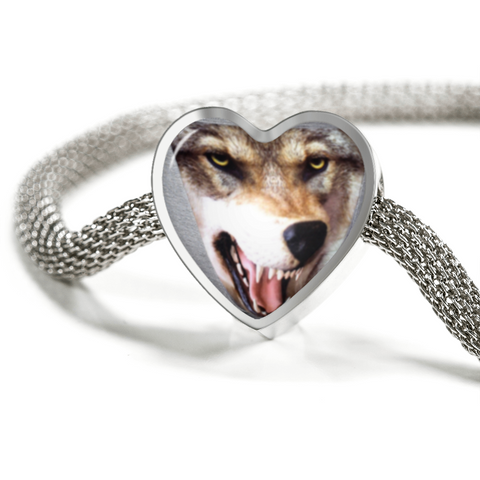 Incredible 3D Wolf/Dog Head, Heart-shaped, Charm Bracelet, Made In The U.S.A. of Stainless Steel and Shatterproof Glass
