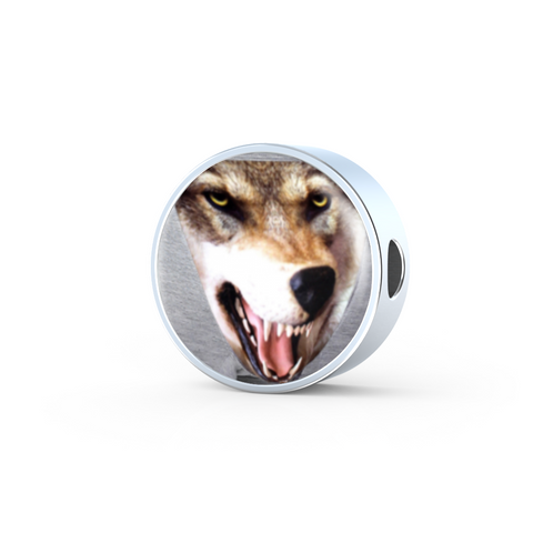 3D Wolf/Dog Head Circle Stainless Steel & Shatterproof Glass Charm