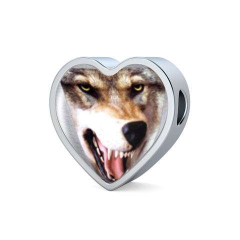 Popular 3D Wolf/Dog Head Heart-Shaped charm, Stainless Steel & Shatterproof Glass Charm
