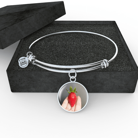 Hand Crafted Adjustable Bangle With Strawberry Surgical Steel & Shatterproof Glass
