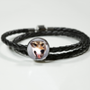 3D Wolf Head Woven Double-Braided Real-Leather Charm Bracelet