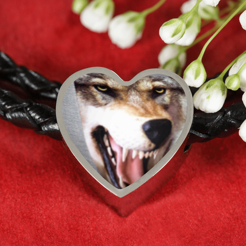 3D Wolf Head Heart-shaped Woven Double-Braided Real-Leather Charm Bracelet