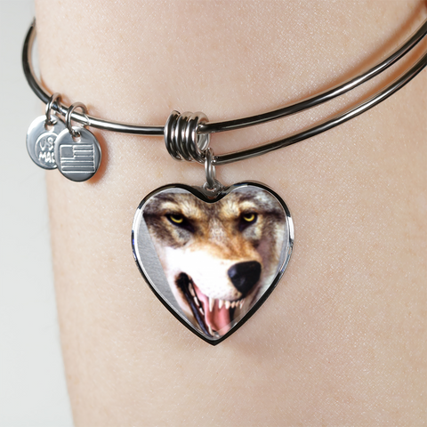 Luxury 3D Wolf Head Heart-Shaped Stainless Steel Pendant Adjustable Bangle