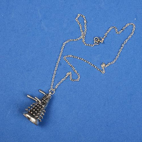 DOCTOR WHO DALEK ROBOT SILVER PENDANT & CHAIN NECKLACE