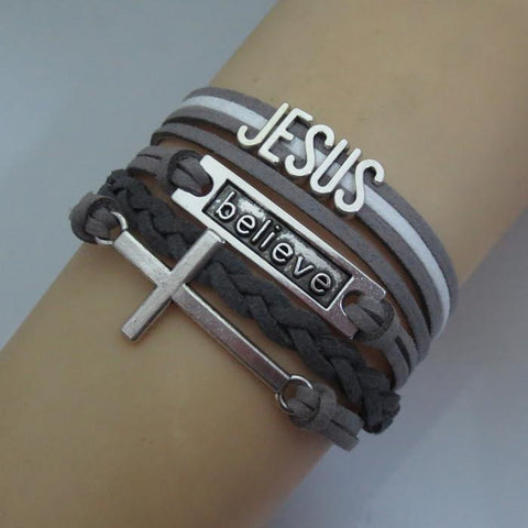 Charm Cross Believe Jesus Leather Bracelet