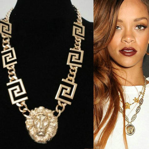 Fashion Celebrity Hip Hop Bling Lion Head Chain Necklace